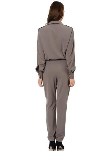 Asymmetry Asymmetry 1Kag912011407 Gömlek Yaka Uzun Kol Bağlamalıdüğme Detaylı Kadın Tulum Vizon
